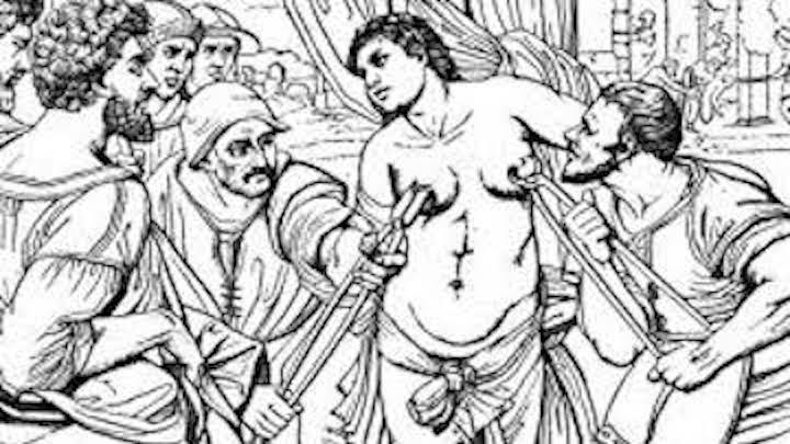 Inquisition woman with nipple clamps